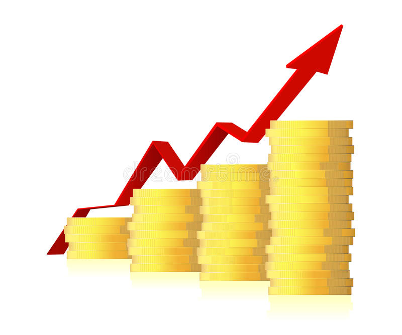 3d business graph with arrow and coins. Business graph with arrow and coins showing profits a gains on white background royalty free illustration