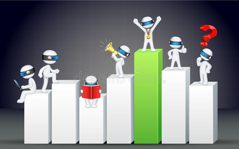 3d Business Man on Bar Graph royalty free illustration