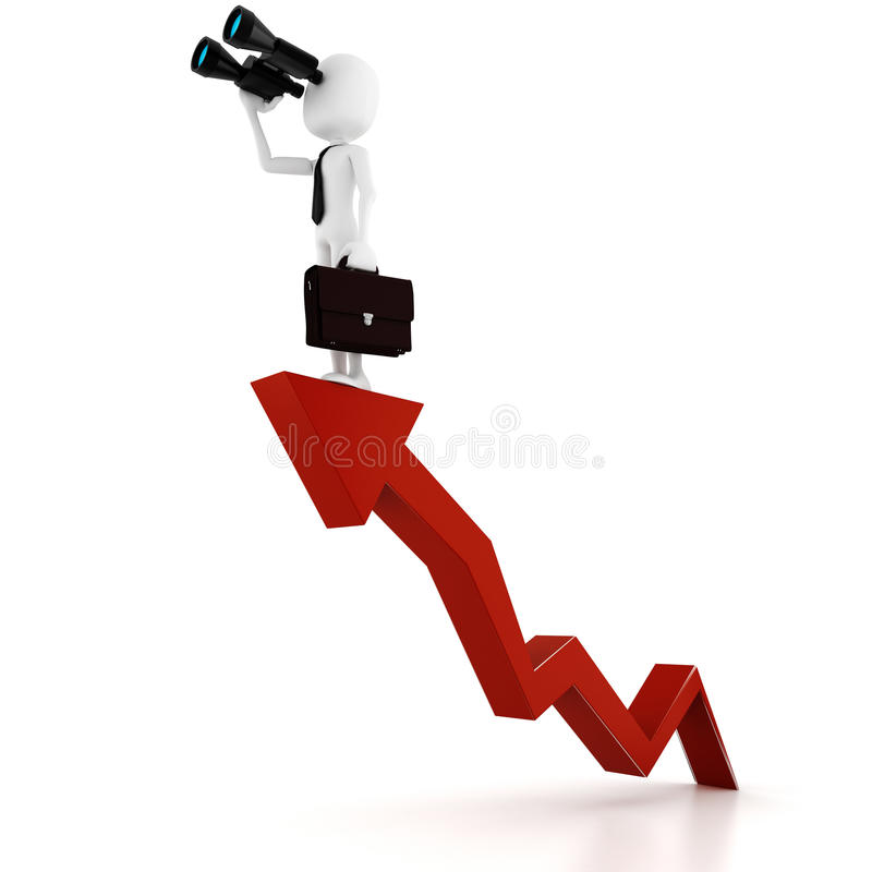 3d business man with a binocular. 3d man business man holding a binocular searching for opportunities royalty free illustration