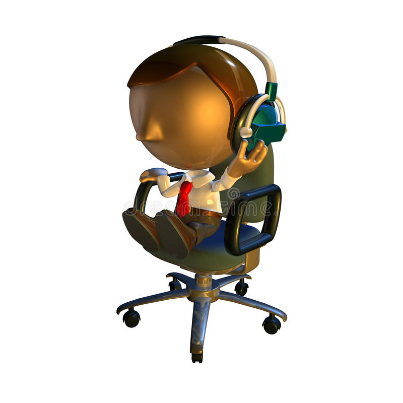 3d Business Man Character In Chair With Headphones Stock Photography