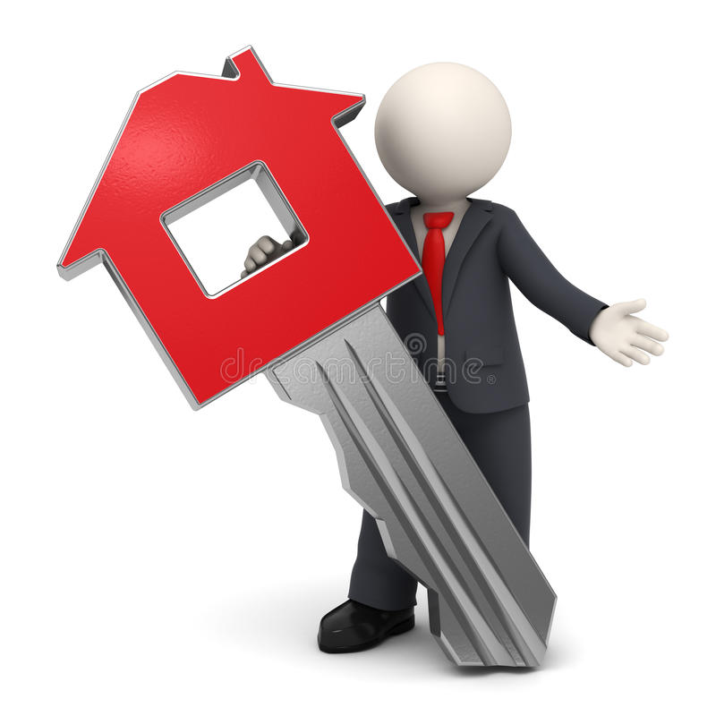 3d business man with house or home key royalty free illustration