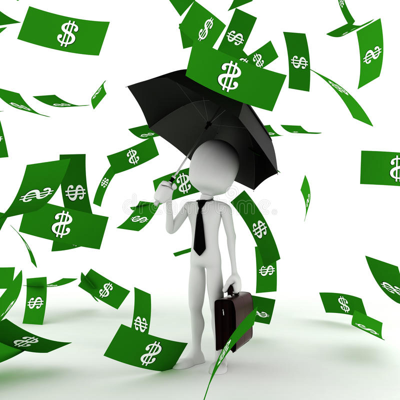 3d business man in the money rain royalty free illustration