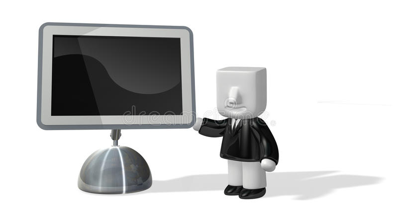 Download 3d Business Man Standing Next To Big Screen Stock Illustration - Image: 27502590