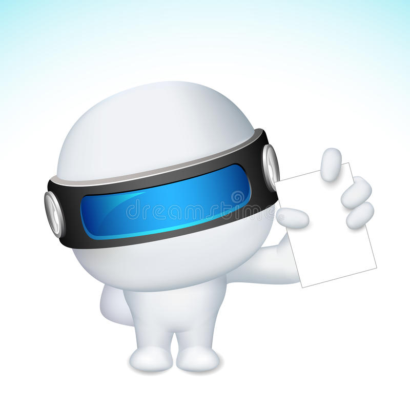 3d Business Man In Vector Showing Blank Card Stock Photos