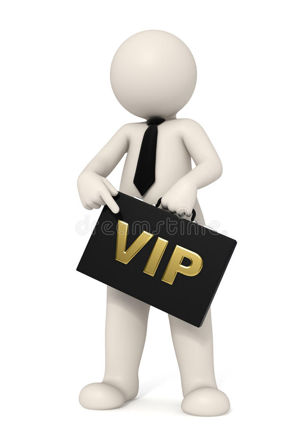 3d business man with VIP briefcase royalty free illustration