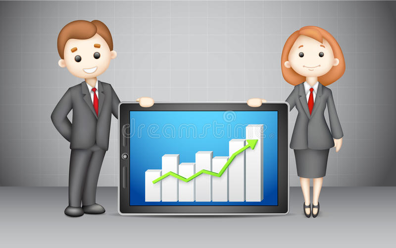 3d Business People with Company Bar Graph royalty free illustration