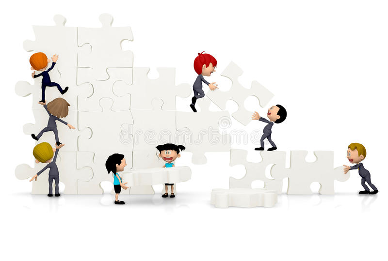 3D Business team arranging a puzzle