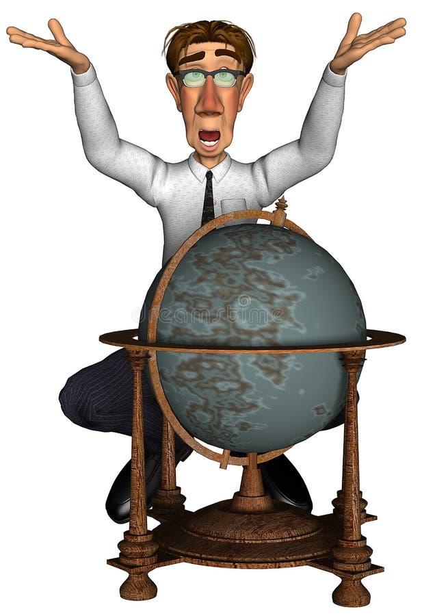 3d businessman global map of the world cartoon. Businessman with a global map of the world stock illustration