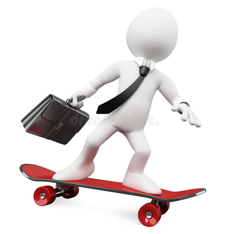 Download 3D Businessman Going To Work On A Skateboard Stock Illustration - Image: 23801164