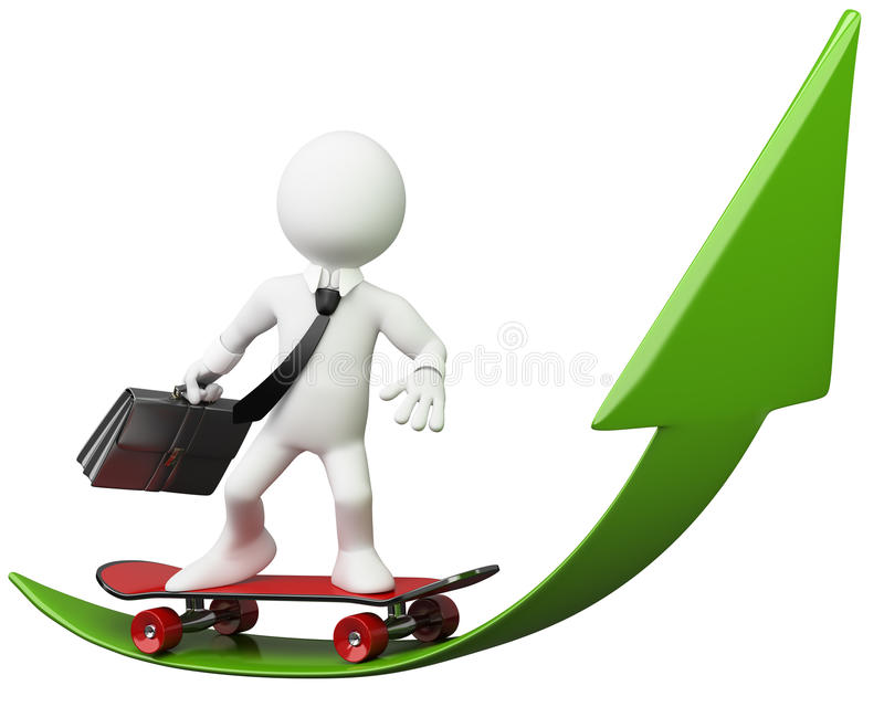 Download 3D Businessman - Green Arrow Stock Image - Image: 24369921