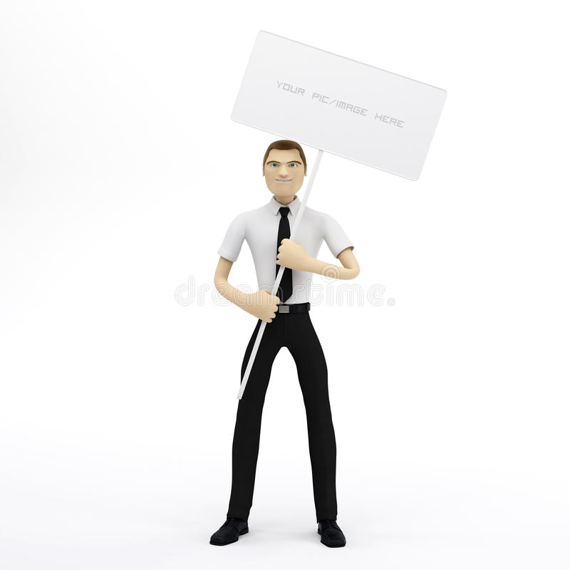 3D Businessman Holding A Blank Sign Royalty Free Stock Image