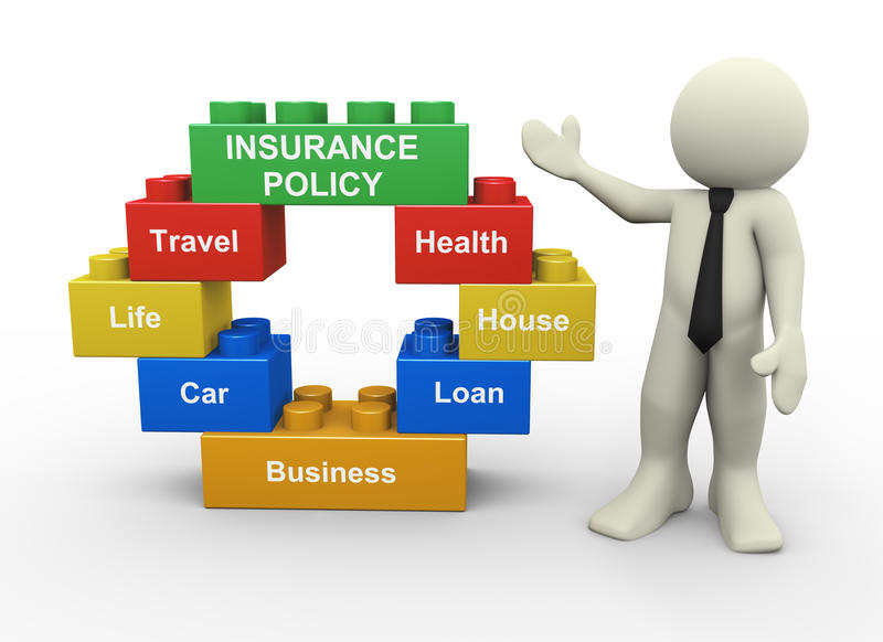 3d Businessman And Insurance Policy Toy Blocks Royalty Free Stock Photography