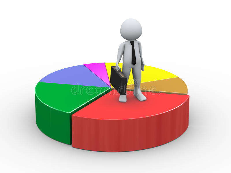 3d Businessman On Pie Chart Stock Photo