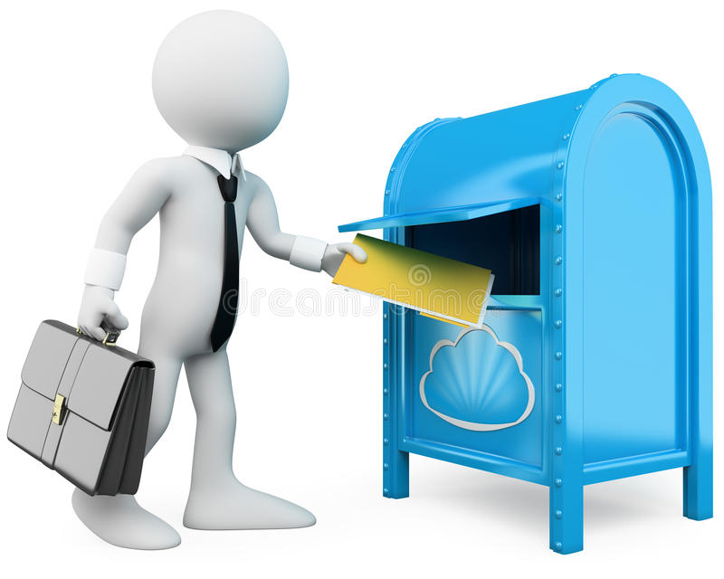 3D businessman sending documents to the cloud stock illustration