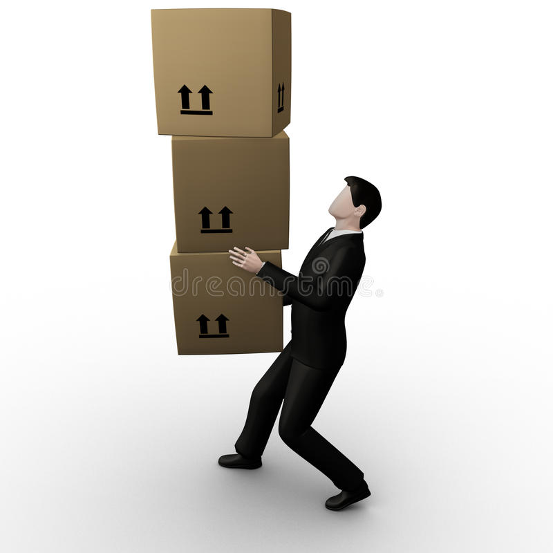 3d businessman transfer packed cardboard boxes. On white background vector illustration