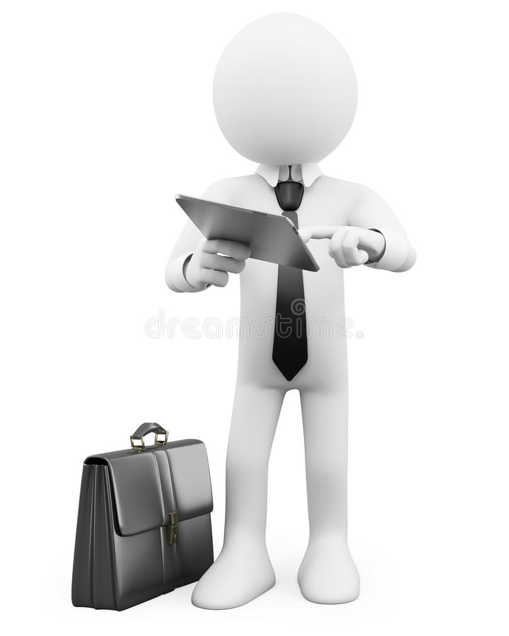 3D Businessman - Working With A Tablet Royalty Free Stock Photo