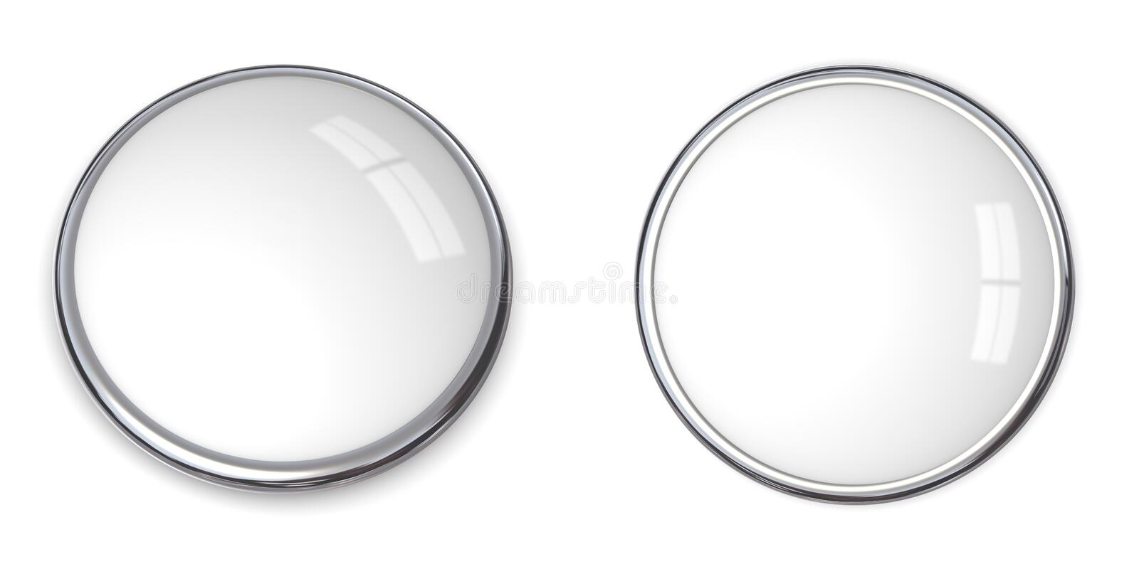 3D Button Solid White. 3D button in solid white, front and side angle vector illustration