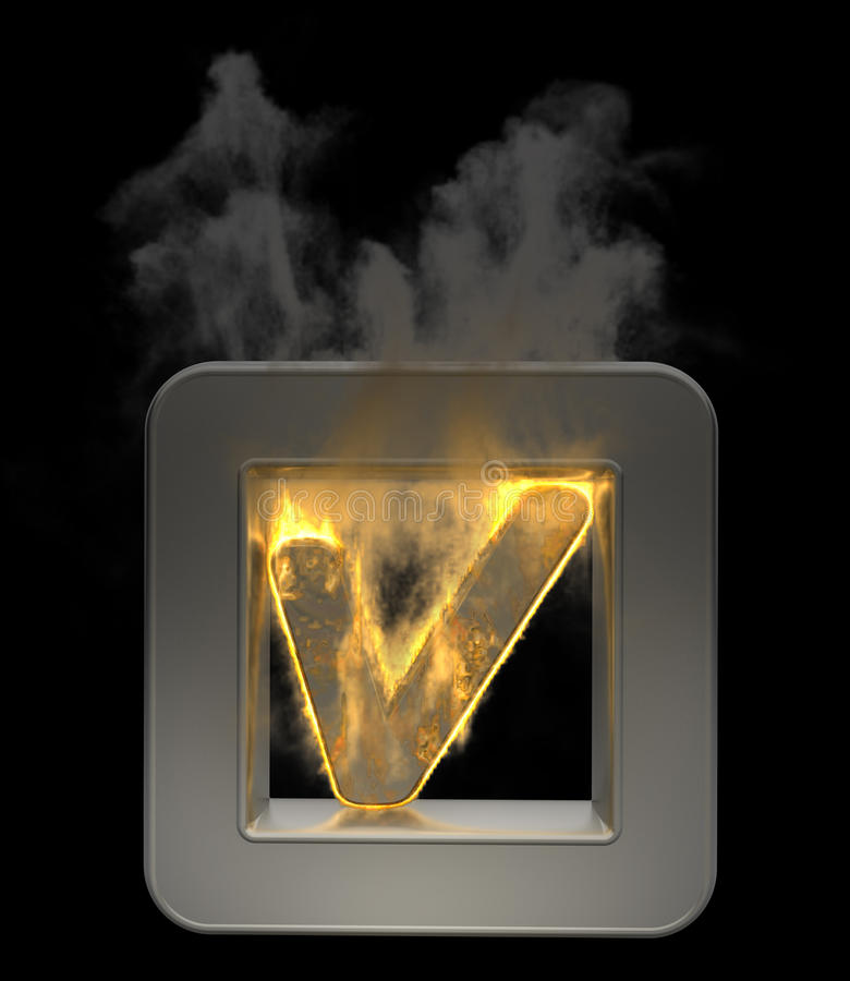 3D Button Tick Symbol Flaming Royalty Free Stock Image