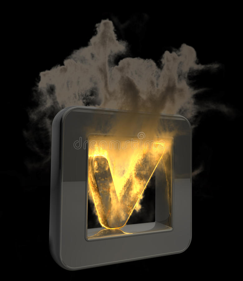 3D Button Tick Symbol Flaming Icon Royalty Free Stock Photo
