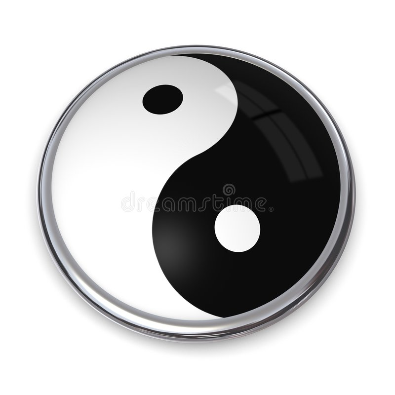 3D Button Yin and Yang. 3D Button with Yin and Yang in black and white royalty free illustration