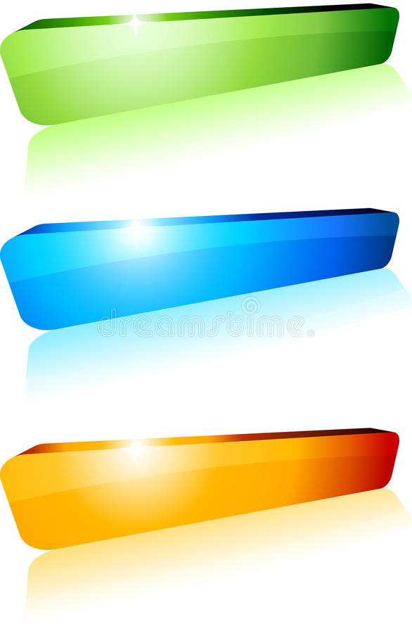 3d buttons. 3d shiny buttons. Vector illustration