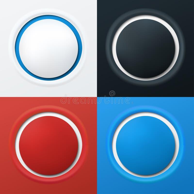3d buttons färgrikt vektor illustrationer