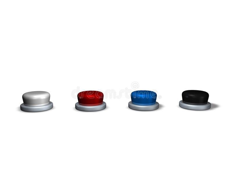 Download 3d Buttons, Red, Blue, Black And White Stock Illustration - Image: 37557977