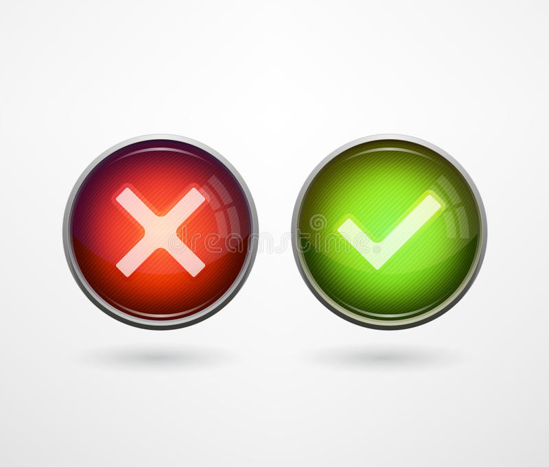 3D buttons yes/no stock illustration