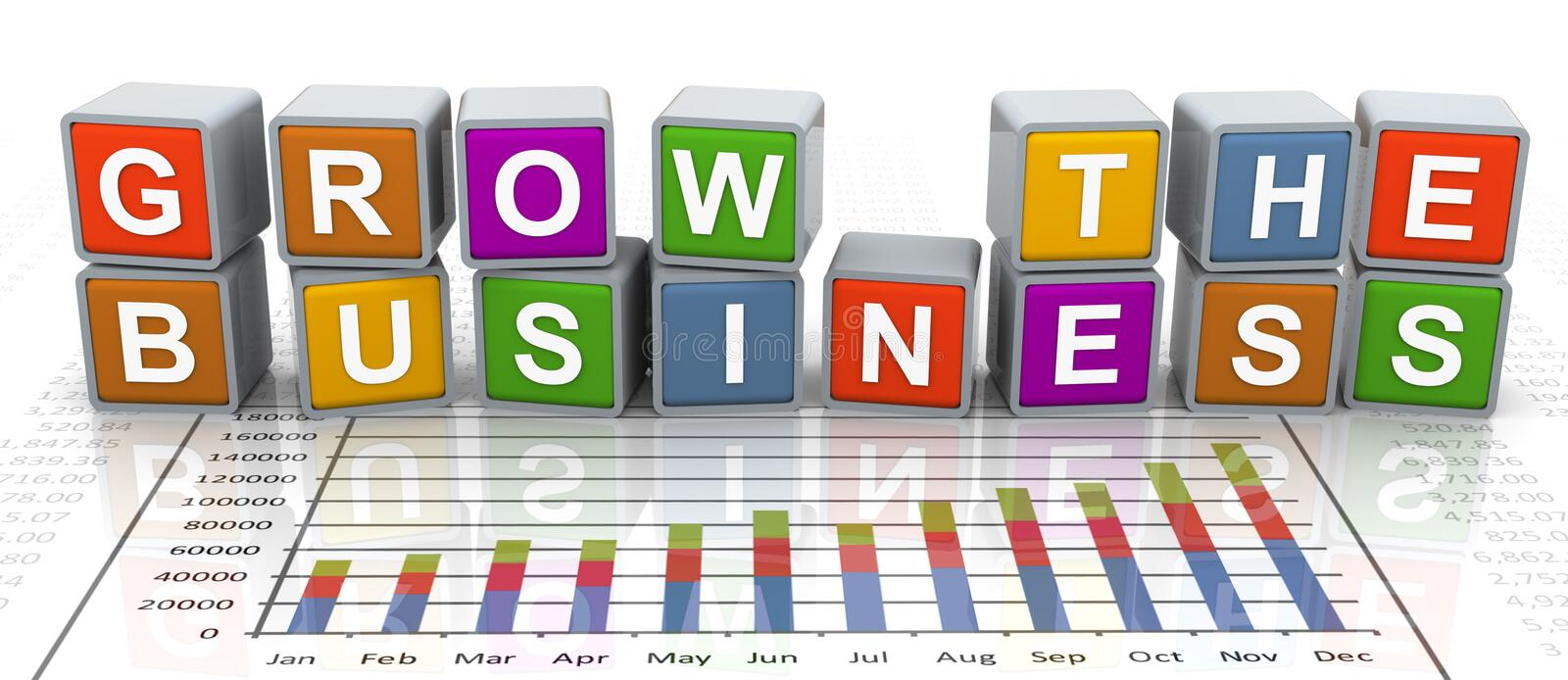 3d buzzword text 'grow the business' vector illustration