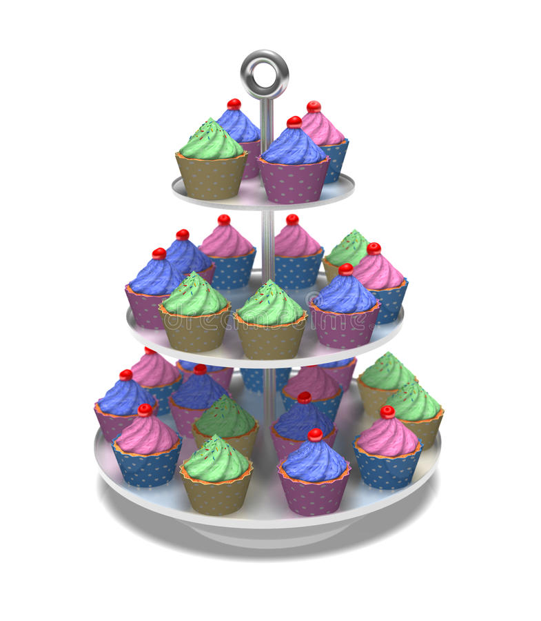 3D cakes on a cake stand. A vast arrangement of 3D multicolored cup cakes against a white background vector illustration