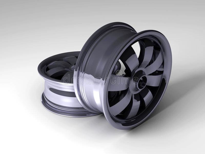 3D Car Rims. 3D rendered image of car tyre rims stock illustration
