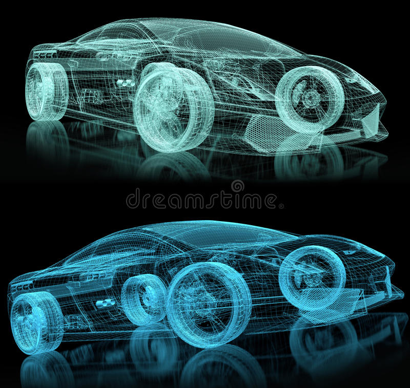 3d car wire. On black stock illustration