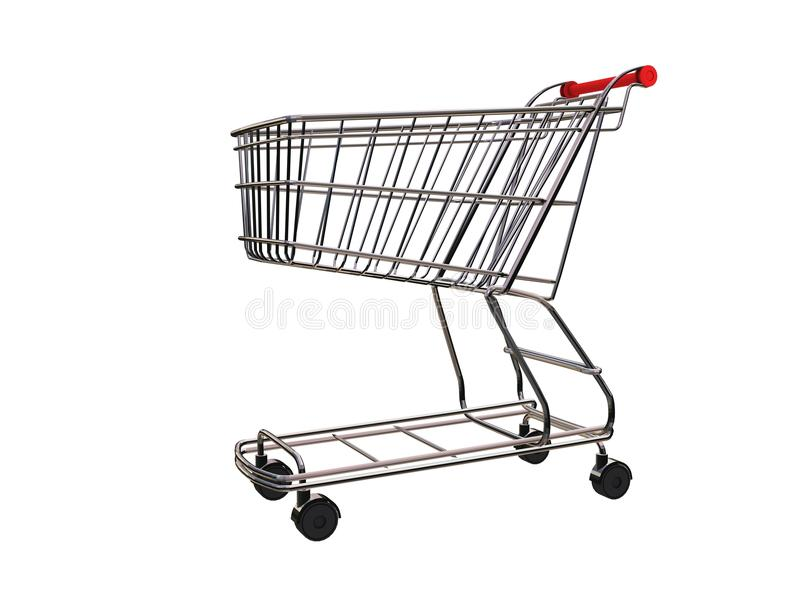 3D cart. 3D rendering of shopping cart used in supermarkets in all over the world vector illustration