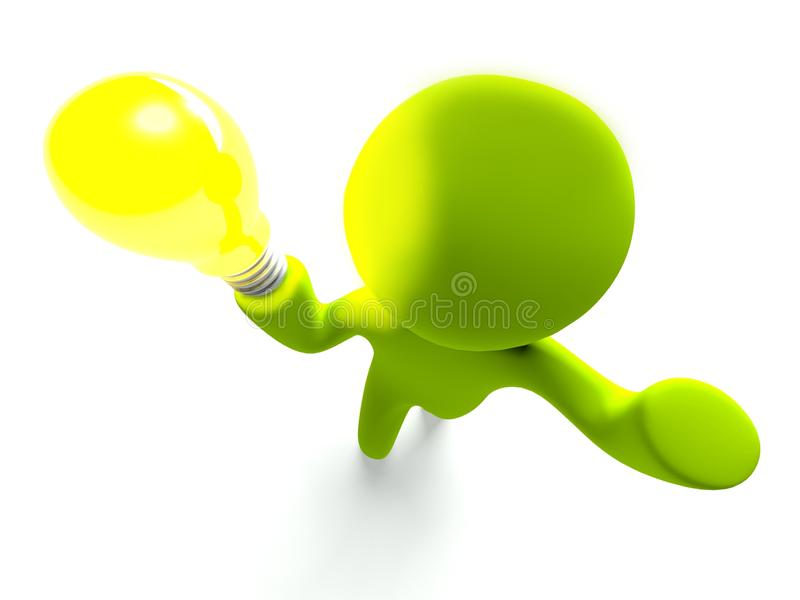 3d Cartoon Man Stands With Light Bulb Royalty Free Stock Photo