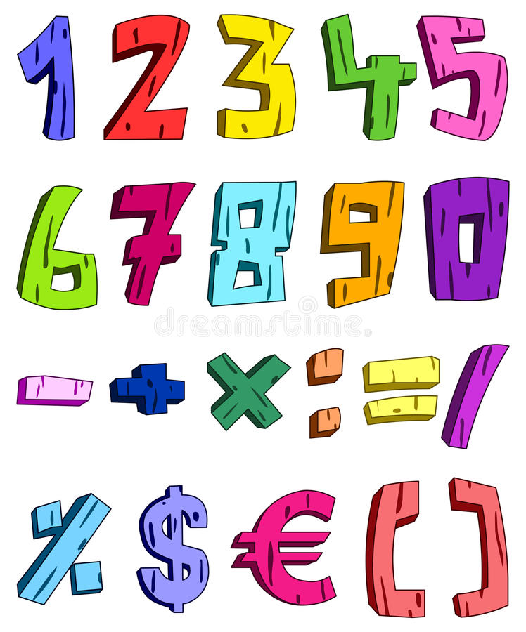 Download 3d cartoon numbers stock vector. Image of grunge, grungy - 18374081