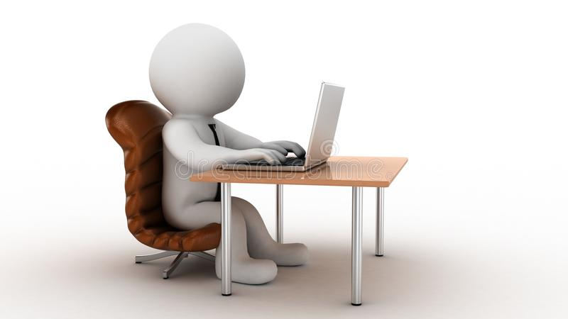 3d cartoon office worker. Beautiful human businessman sitting on chair and working on the computer vector illustration