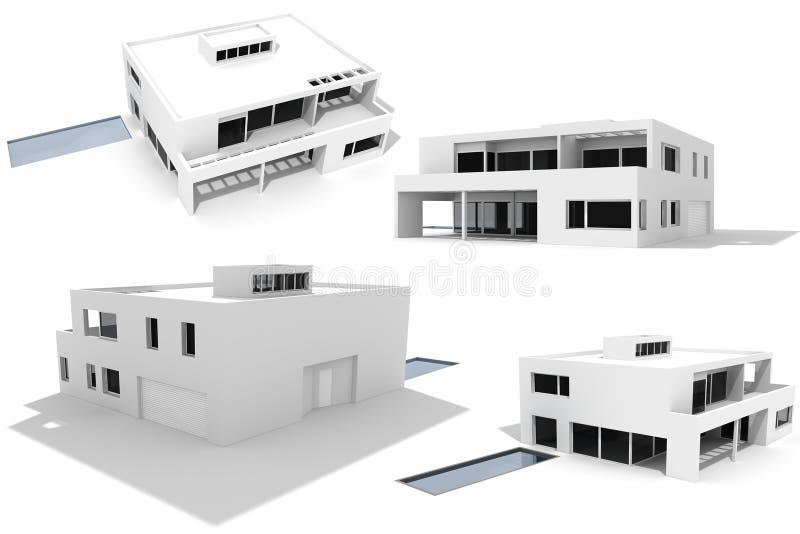 3d casa moderna, PAQUETE, aislado en blanco libre illustration