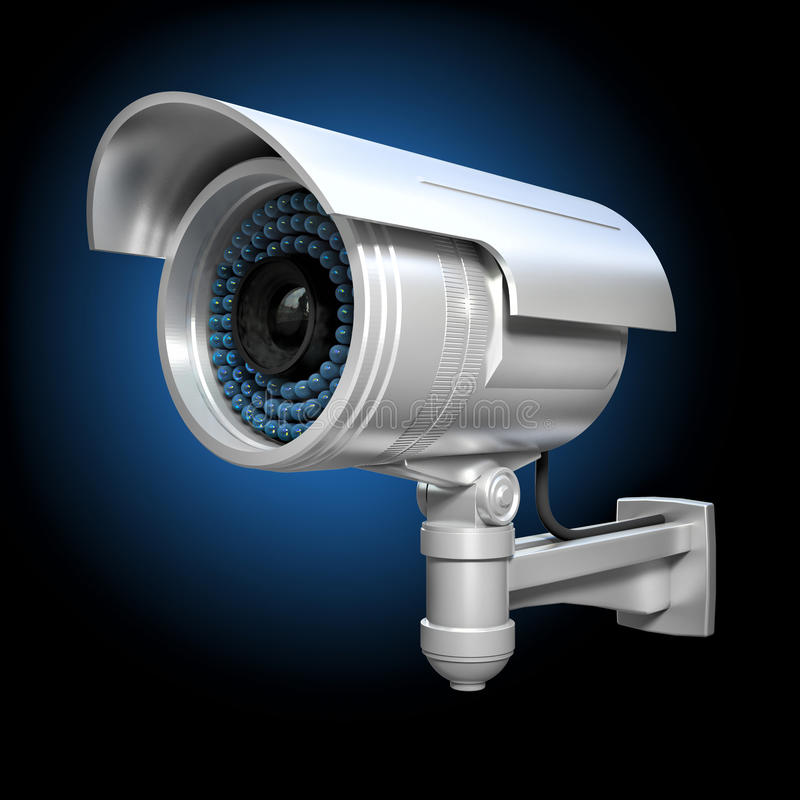 3d cctv. 3d image of classic infrared cctv royalty free illustration