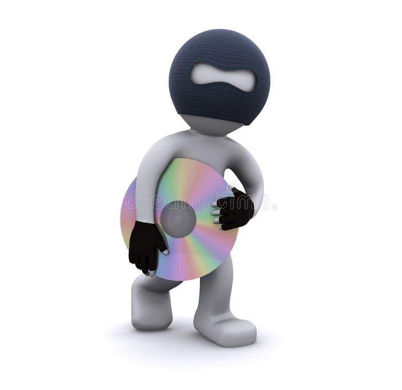 3d CD字符计算机概念海盗行为窃取 库存例证