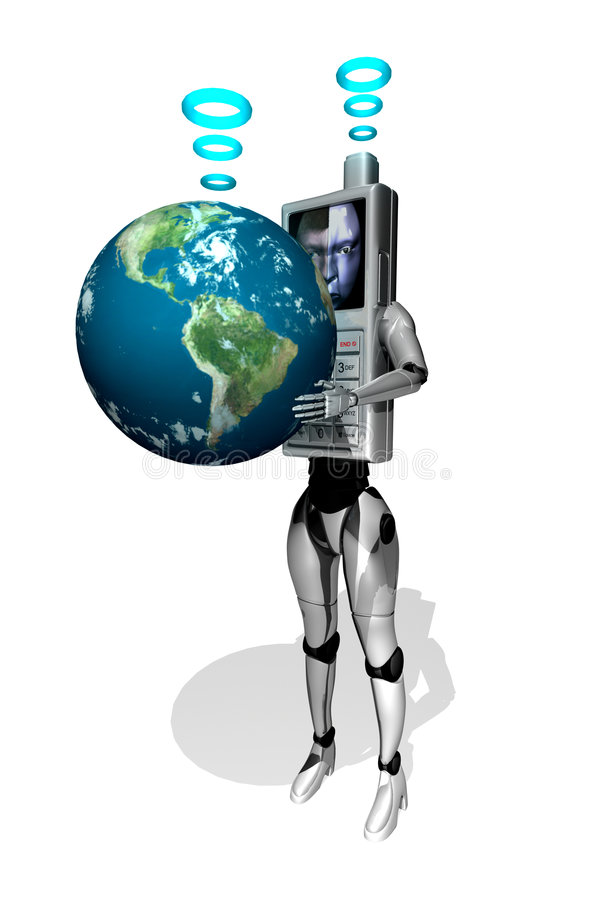 3D cell phone robot with earth stock illustration