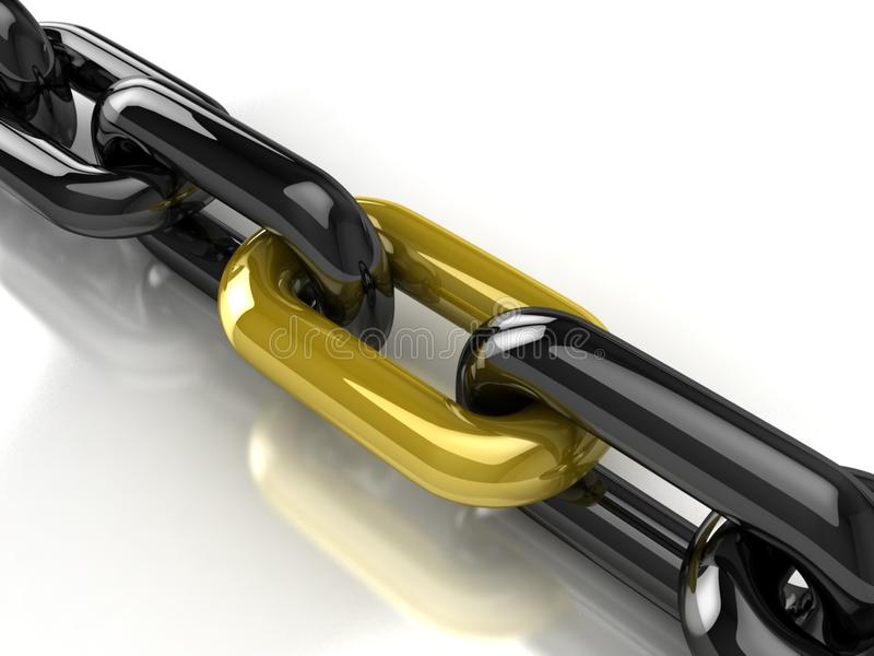 3d Chain With Golden Link Royalty Free Stock Images