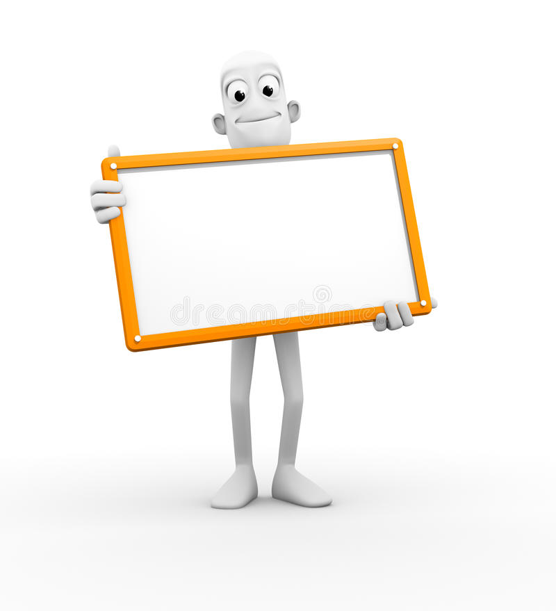 3D Character With Blank Sign Stock Photos