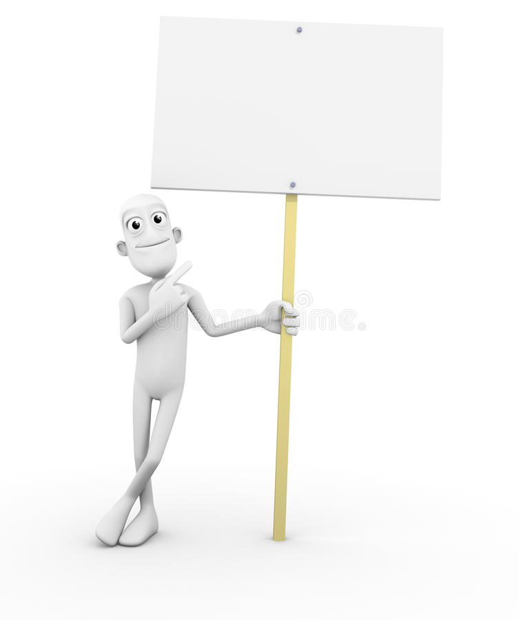 Download 3D Character With Blank Sign Stock Illustration - Image: 21006048