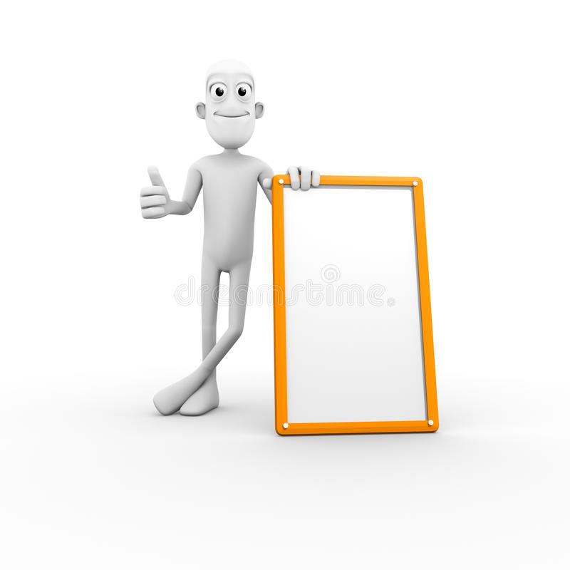 3D Character With Blank Sign Royalty Free Stock Images