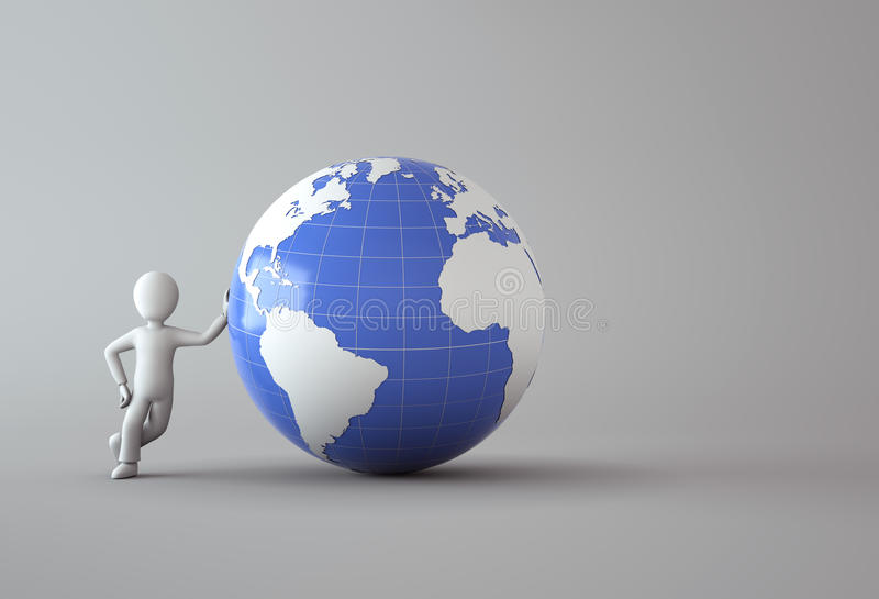 3d character with blue globe royalty free illustration