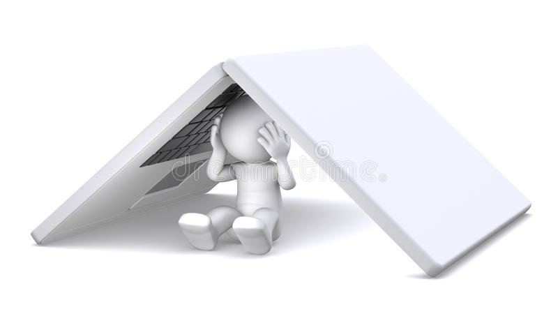 Download 3d Character Hiding Under Notebook Stock Illustration - Image: 19324317