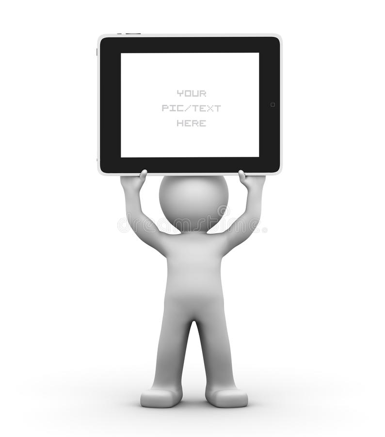3D Character Holding A Blank Tablet Pc Royalty Free Stock Photography