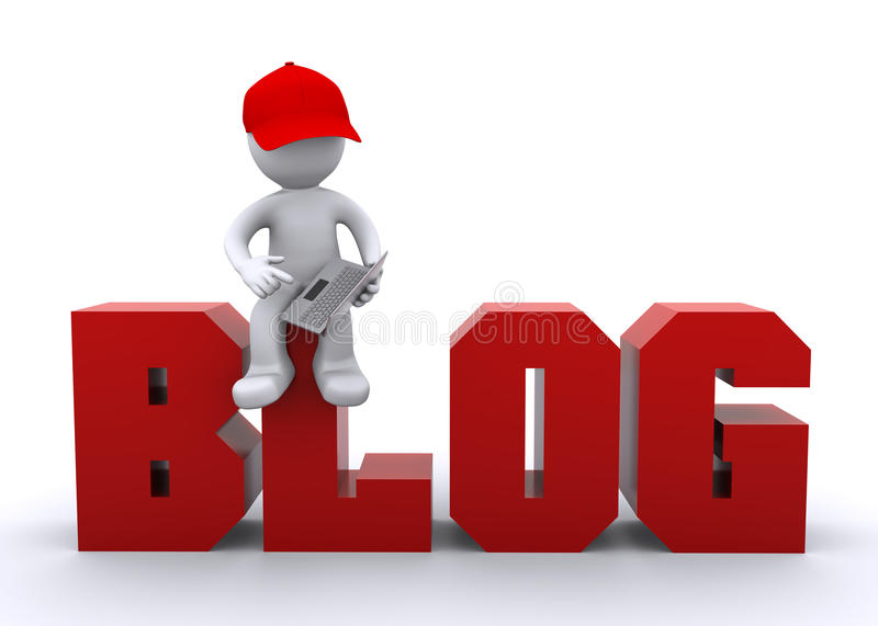 3D character with laptop and blog sign royalty free illustration