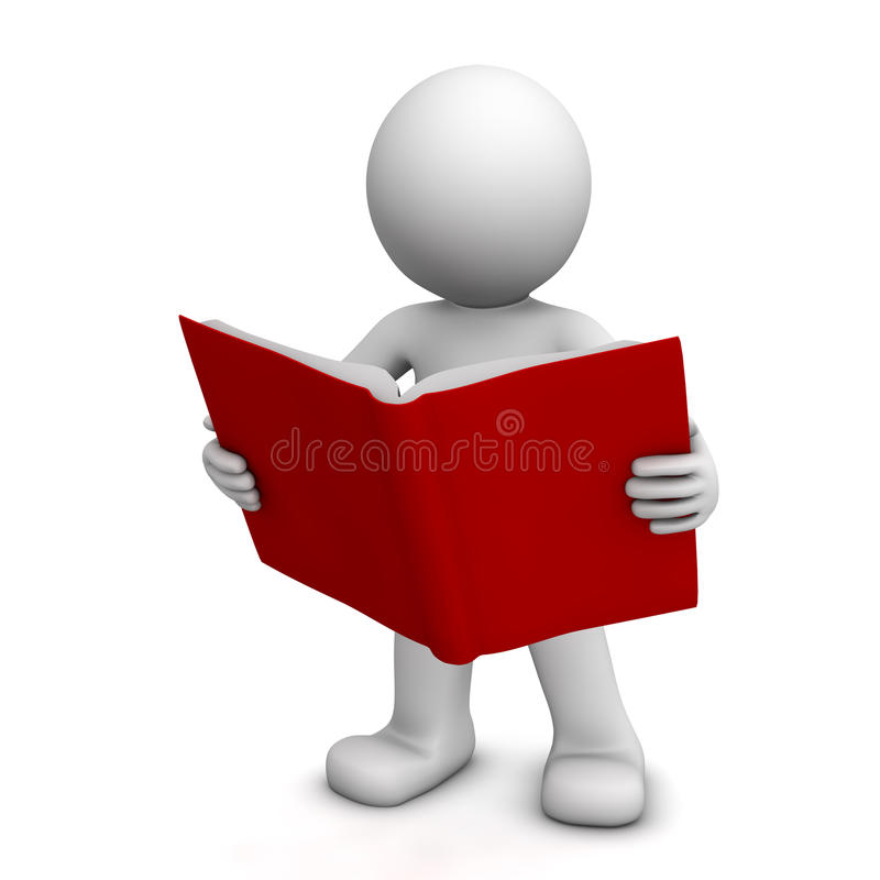 3D character reading book stock illustration