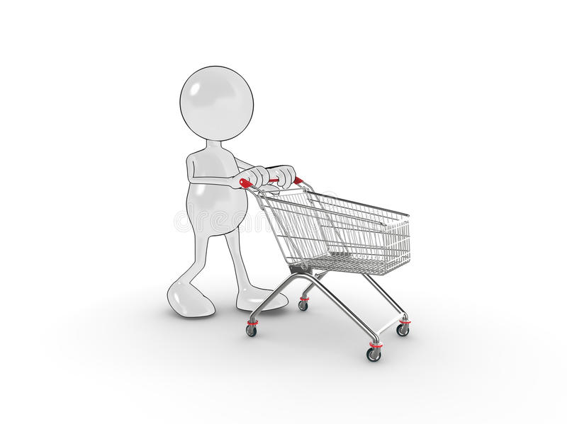 3d Character Shopping Royalty Free Stock Photo